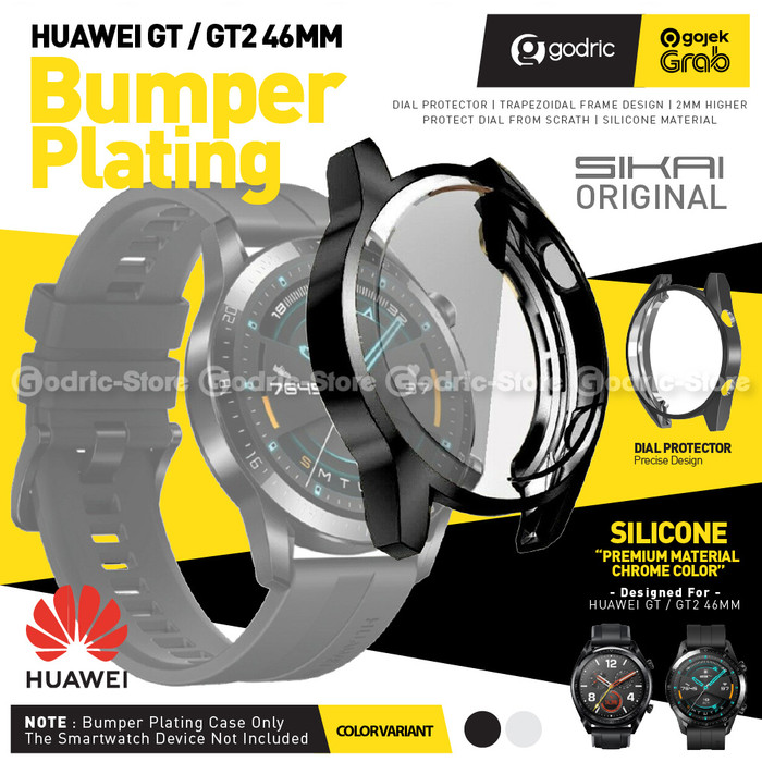 Foto Produk SIKAI BUMPER TPU PLATING Case Screen Cover Protector Huawei GT2 46mm - BLACK dari Godric Store