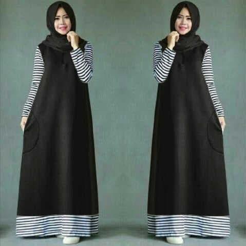 Foto Produk [Ameera Hijab H FT]Ghamis wanita babytery hitam dari FASHIONISTA's GROSIR