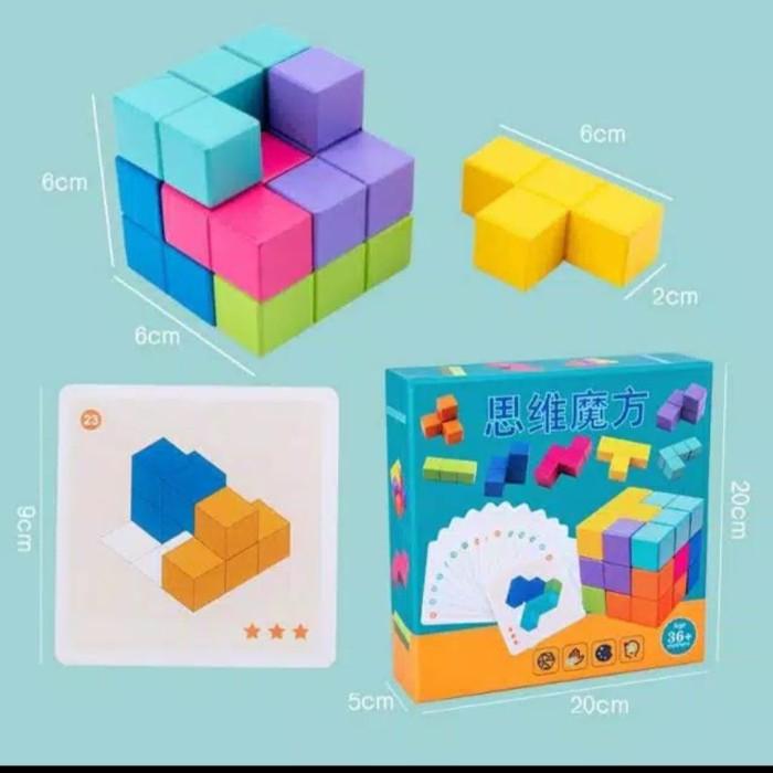 Foto Produk Mainan Anak Tetris Kubus kosakata/Cubisimo brain Tetris dari AUTO KID II