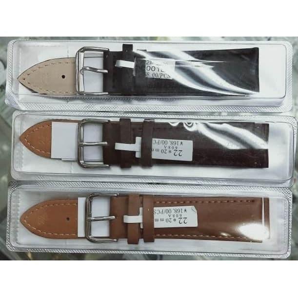 Foto Produk Tali Strap Jam Tangan Kulit Time King 18 20 22 24mm Hitam Coklat - 18mm, Hitam dari grojam