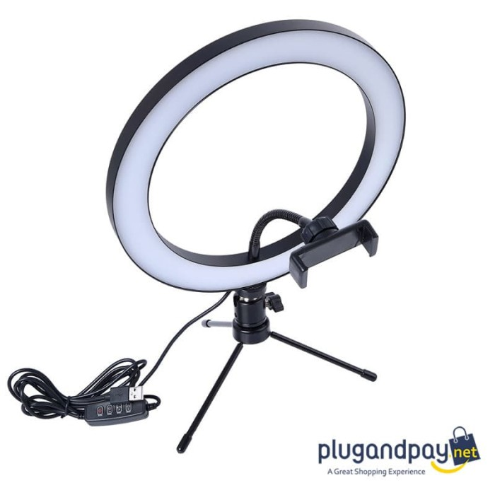 Foto Produk Lampu Halo Ring Light LED Selfie 120 LED 10 Inch with Smartphone Holde dari plugandpay