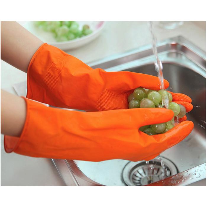 Foto Produk Sarung tangan CUCI karet XL latex panjang bersih bersih anti air dari Solo Micro