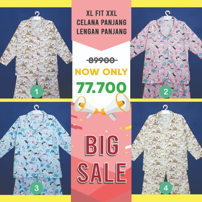 Foto Produk PIYAMA Size XL-XXL Wanita Lengan Panjang PP Katun JAPAN JBPP 2923CD dari Millen Collection