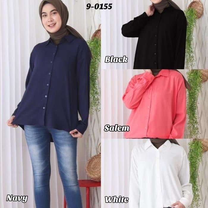 Foto Produk Baju Atasan Wanita Bahan Rayon Lembut Blus Kemeja 9-0155 - White, Standar dari Hitjab & Co