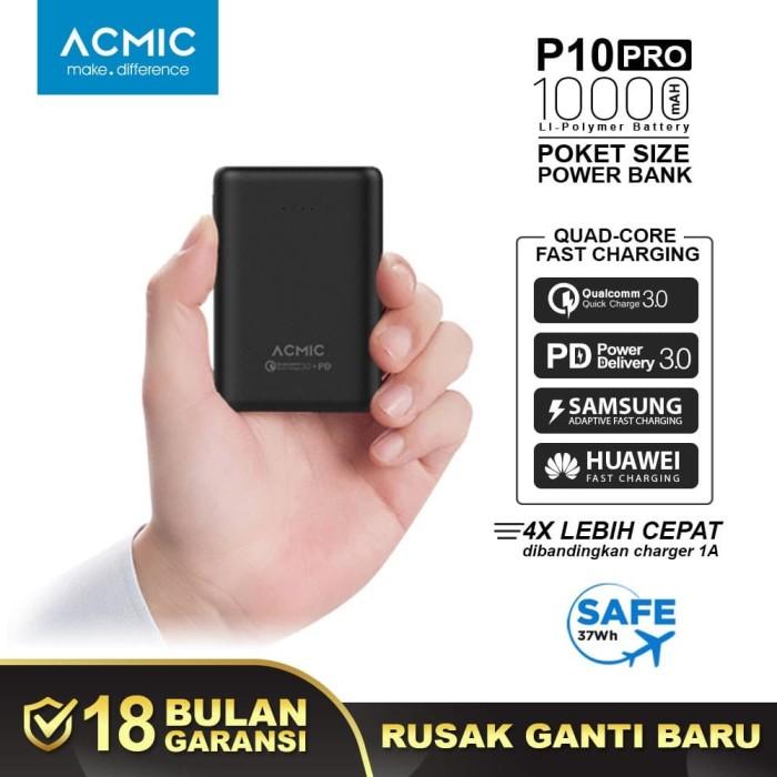 Foto Produk ACMIC P10PRO 10000mAh Mini PowerBank Quick Charge 3.0 + PD - Hitam dari ACMIC Official Store