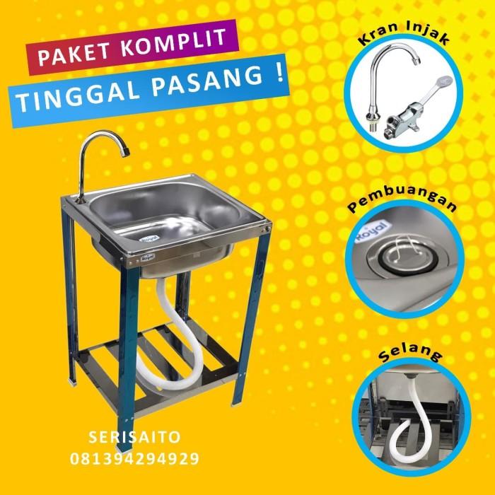 Foto Produk Paket Bak Cuci Tangan + Keran Injak / Washtafel Wastafel Kran Air dari serisaito