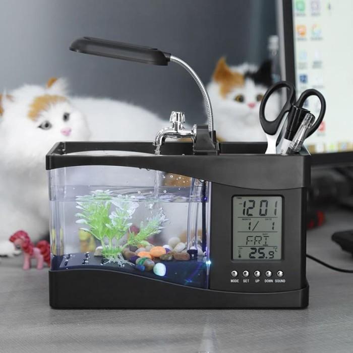 Jual Aquarium Mini Ikan Cupang Dengan Jam Lampu Led Untuk Meja Desktop Putih Jakarta Barat Update Mall Tokopedia