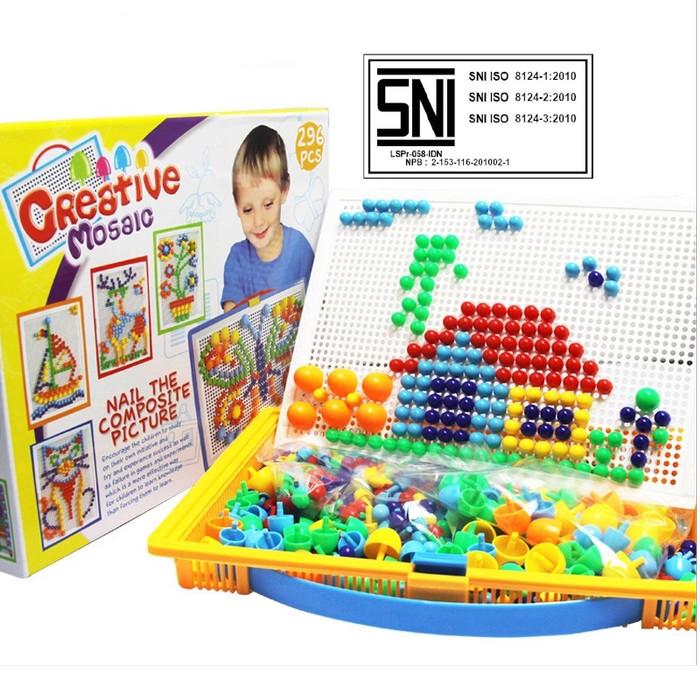 Foto Produk Mainan Edukasi Susun Paku Puzzle 296pcs Jamur Mainan Anak dari Mmtoys Indonesia