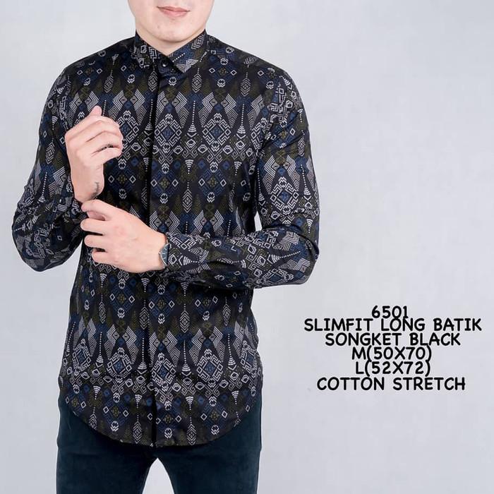 Foto Produk Kemeja Batik Pria Slimfit Lengan Panjang Cotton Stretch M L XL 6477 - Hitam, L dari PREDZ_ID