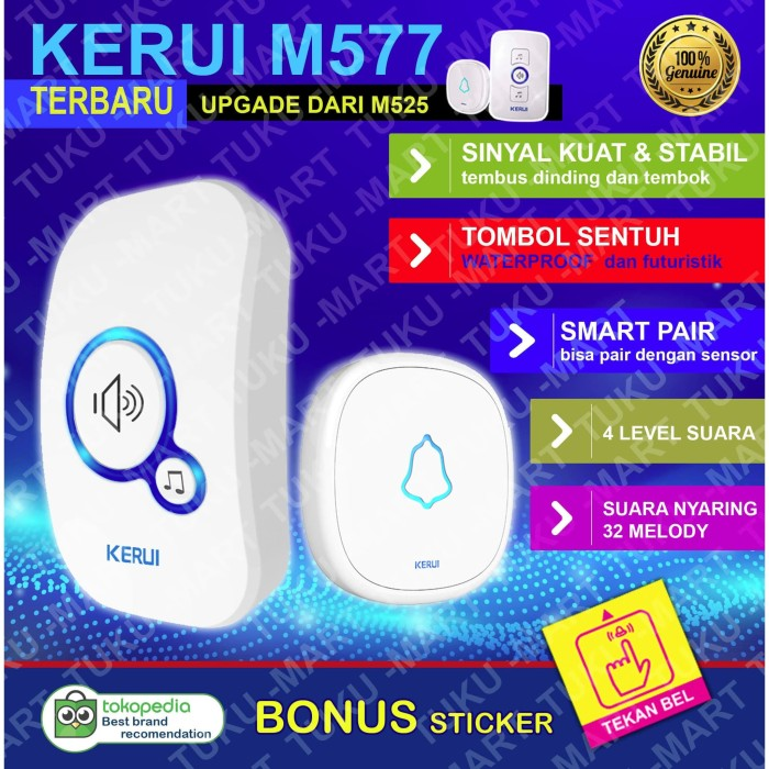 Foto Produk BEL RUMAH WIRELESS / DOOR BELL KERUI ( Water Proof, smart system ) dari Tuku-Mart