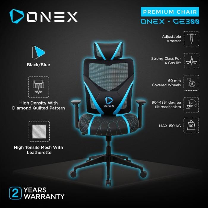 Foto Produk ONEX GE300 Premium Quality Mesh Gaming Chair - Blue dari ONEX INDONESIA
