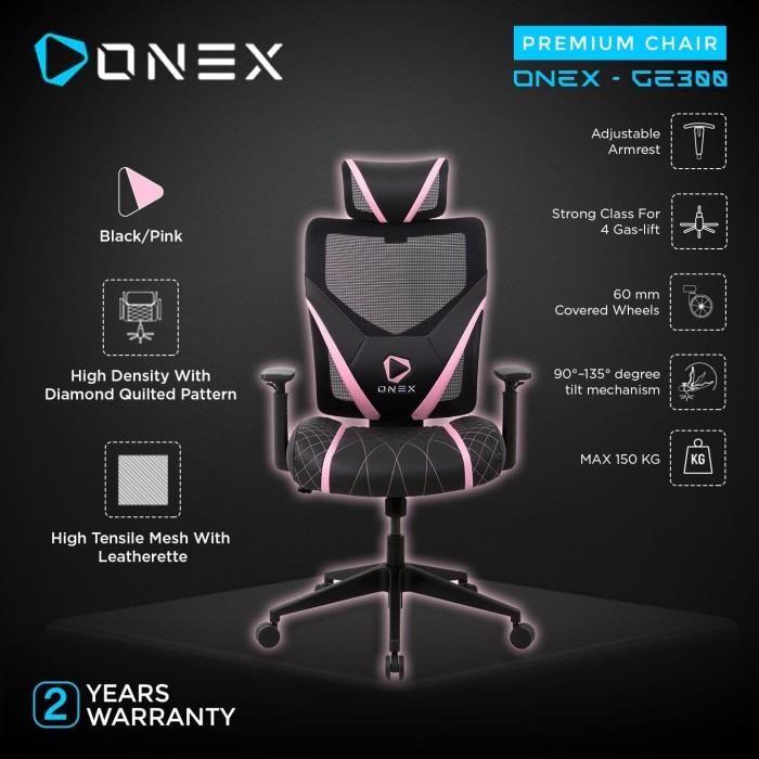 Foto Produk ONEX GE300 Premium Quality Mesh Gaming Chair - Pink dari ONEX INDONESIA