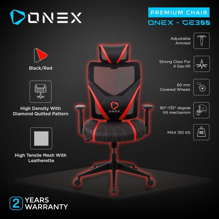 Foto Produk ONEX GE300 Premium Quality Mesh Gaming Chair Kursi - Red dari ONEX INDONESIA