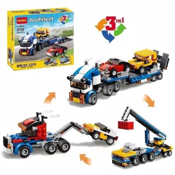 Jual Decool 3114 Bricks Lego Architect 3 In 1 Car Trailer Crane Truck Jakarta Barat 5de Tokopedia
