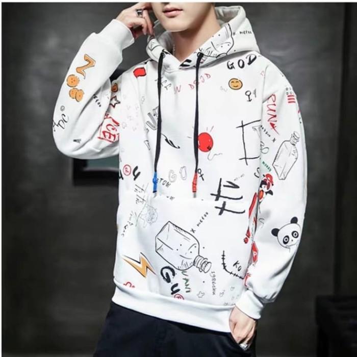 Foto Produk Sweater Hoodie Motif Pria Cowok All in Jaket Sweter Kekinian Premium - Putih dari queenlabel