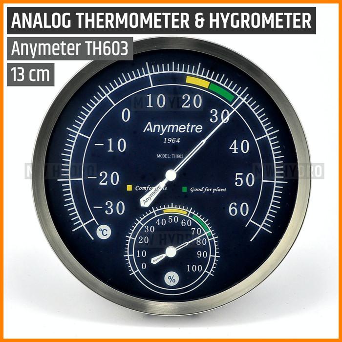 Foto Produk Anymetre TH603, Analog Thermometer Hygrometer, 13 cm, Stainless Steel dari MW Hydro