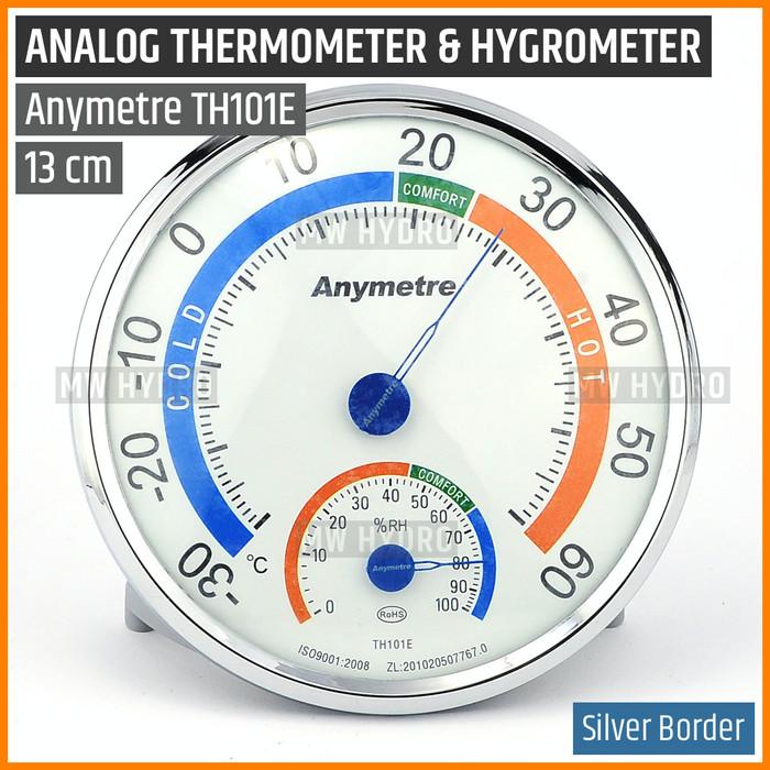 Foto Produk Anymetre TH101E Original, Analog Thermometer Hygrometer, 13 cm Silver dari MW Hydro