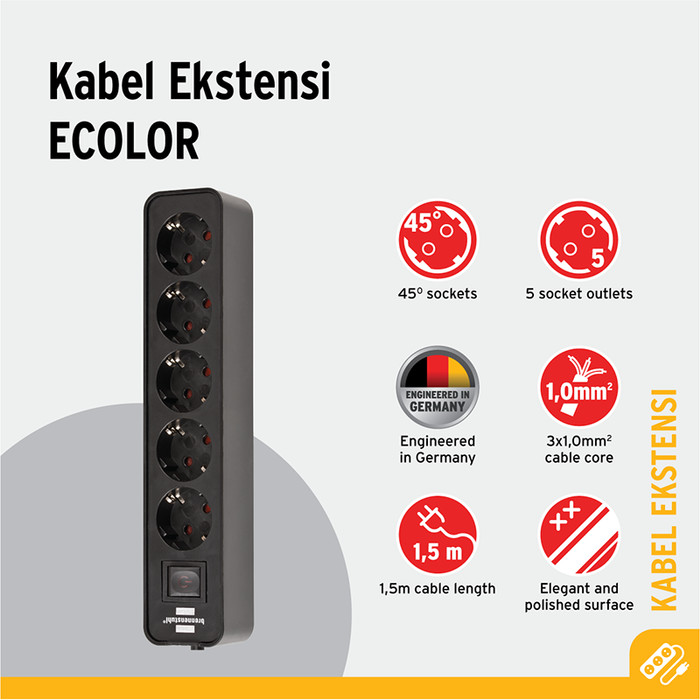 Foto Produk Stop Kontak Brennenstuhl Ecolor 5-Soket Hitam dengan Switch dari Brennenstuhl Indonesia