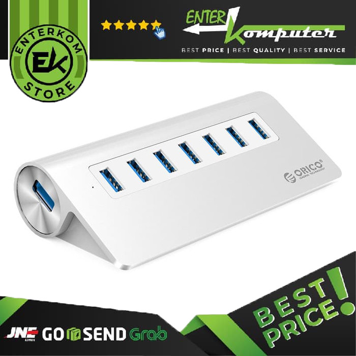 Foto Produk Orico USB HUB M3H7 Aluminium 7 Port USB 3.0 With 30W Power Adapter dari Enter Komputer Official