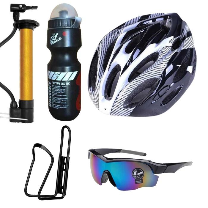 Foto Produk Paket Helm Sepeda dengan botol minum dan kacamata dari Zainma Store