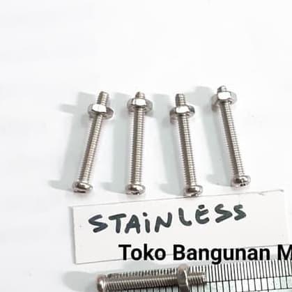 Foto Produk Baut M2x20 mm +Mur JP Stainless 304 5set dari toko Bangunan Makmur
