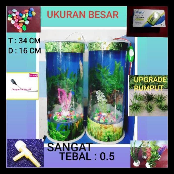 Jual Aquarium Mini Ukuran Besar Ikan Hias Guppy Cupang Lampu Tidur Mesin Kab Bekasi Mondol 1 Tokopedia