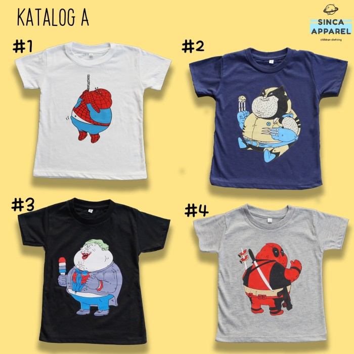 Foto Produk Baju Kaos Anak Cowok Laki - Laki Lengan Pendek Premium - Katalog A dari Sinca Apparel