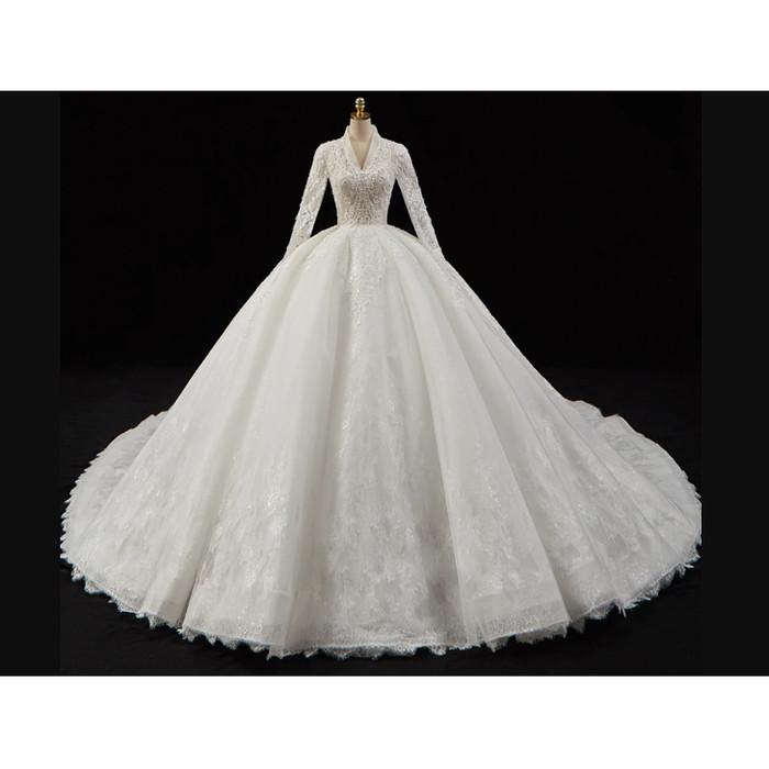Jual Crystal Pearls Appliques Lace Gorgeous Ball Gown Wedding Dresses Putih Kab Tangerang Wedding Mart Tokopedia