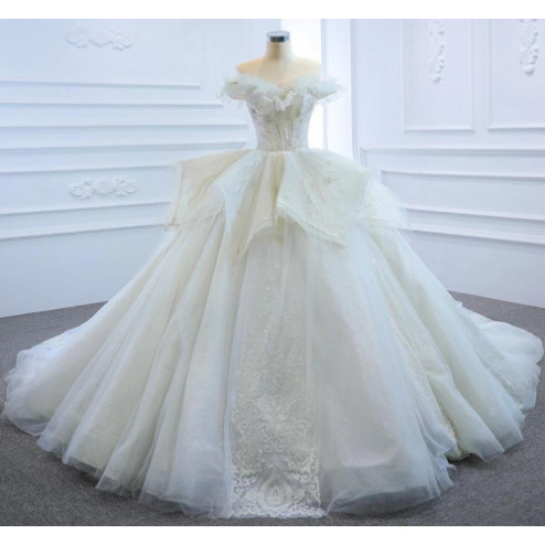 Jual Ball Gown Wedding Dress Off Shoulder Luxury Lace Beading Wedding Gown Putih S Kab Tangerang Wedding Mart Tokopedia