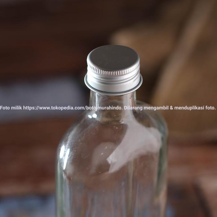 Foto Produk Botol Kaca Bening Gepeng 250ml Flask Glass Clear Bottle BARU 100% - Silver dari Botol Murah Indo