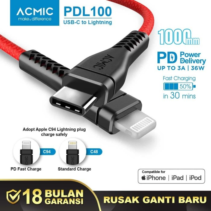 Foto Produk ACMIC PDL100 USB Type C to Lightning Cable PD Fast Charging iPhone 1M dari ACMIC Official Store
