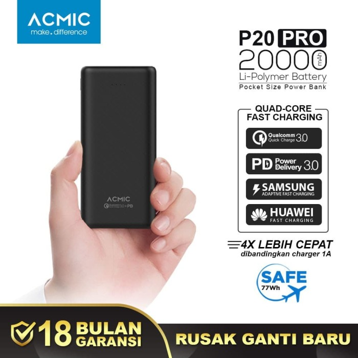 Foto Produk ACMIC P20PRO 20000mAh PowerBank Quick Charge 3.0 + PD Power Delivery - Hitam dari ACMIC Official Store