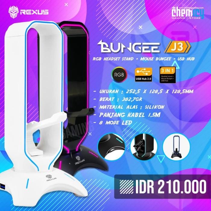 Foto Produk Rexus J3 RGB Headset Stand Bungee with USB Hub - Putih dari Chemicy Gaming