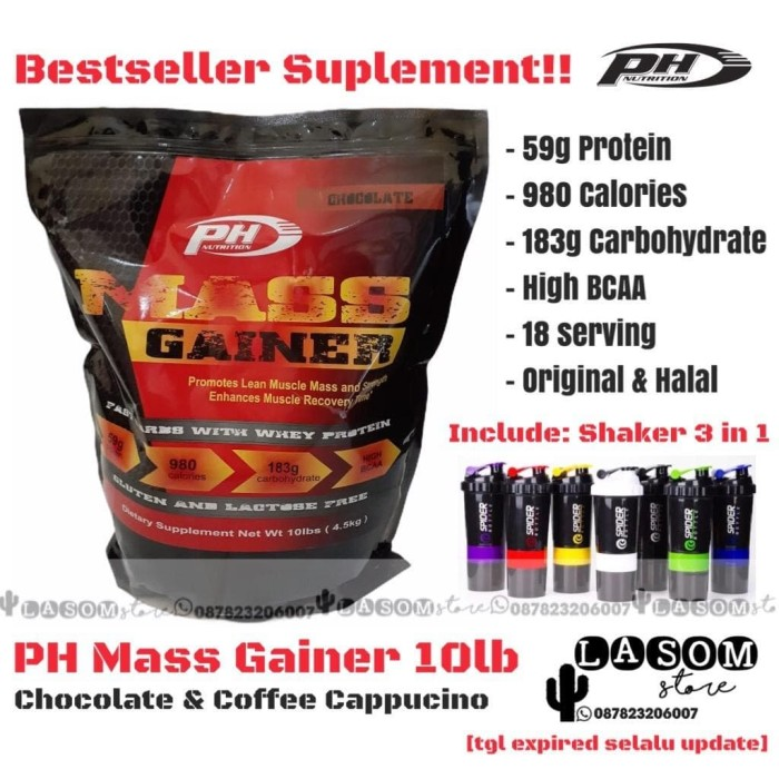 Foto Produk PH MASS GAINER 10 lbs / PH Nutrition / ProHybrid / Pro Hybrid - Choc dari LASOM store