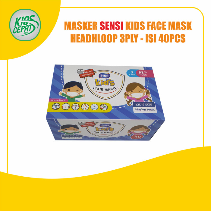 Foto Produk Masker SENSI KIDS - 3Ply HEADLOOP Face Mask isi 40pcs dari KiosCepat