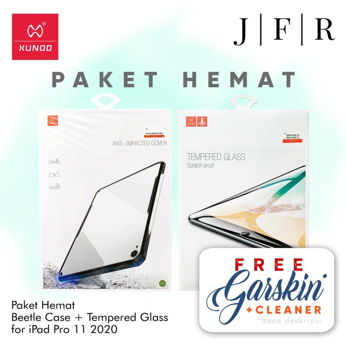Foto Produk Xundd Beetle Case Tempered Glass iPad Pro 11 2020 Cover Screen Guard - Black dari JFR Official Store