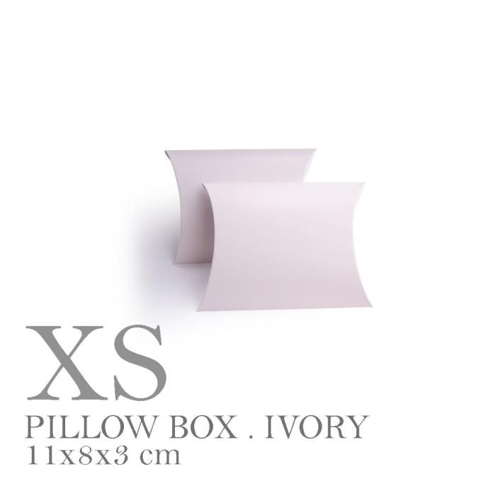 Foto Produk [PILLOW BOX EXTRA SMALL: 11x8x3 cm] WHITE IVORY 300gr dus / box dari fave paper