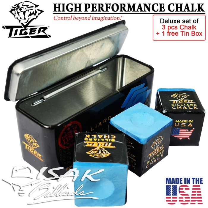 Foto Produk Tiger USA Billiard Chalk - Box 3 pcs - Kapur Biliar Asli Amerika Cuk dari ISAK Billiard Sport Co.