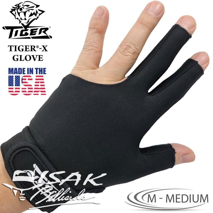 Foto Produk Tiger USA X-Glove Black M Medium Billiard Gloves Sarung Tangan Biliar dari ISAK Billiard Sport Co.