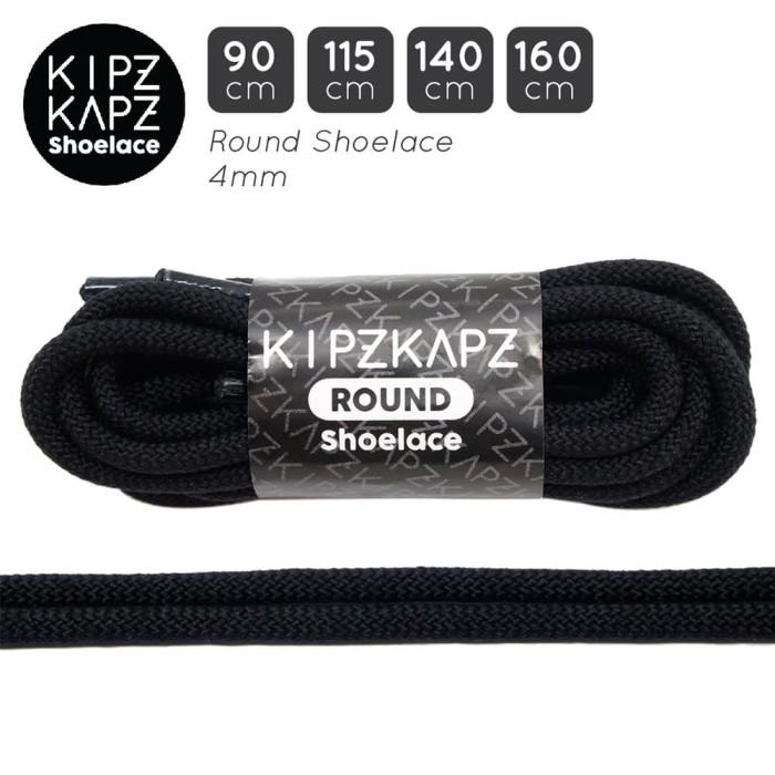 Foto Produk KipzKapz RS59 Jet Black 90cm 115cm 160cm Tali Sepatu Bulat / Round dari KipzKapz
