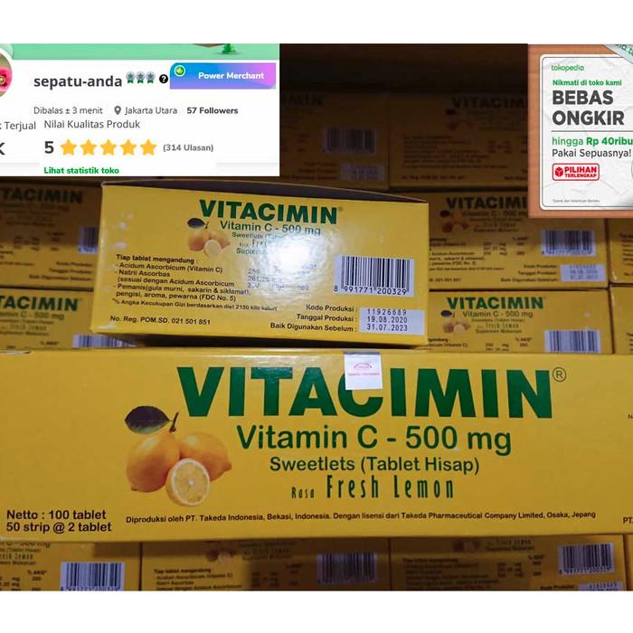 Foto Produk Vitacimin 1 box Isi 100 tablet vitamin C - Fresh Lemon dari sepatu-anda