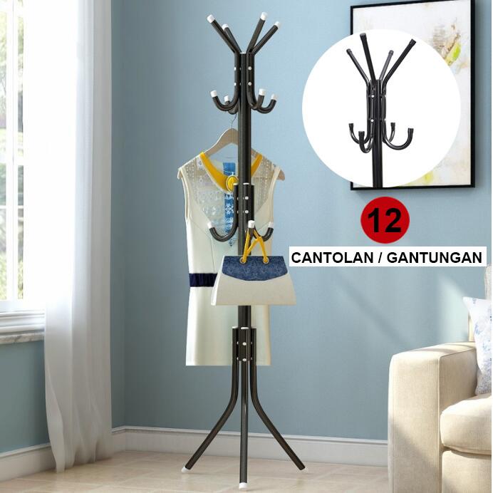 Foto Produk Multifunction Stand Hanger/Gantungan Berdiri/Hanger Gantungan Baju Tas - Hitam dari AMSLILY