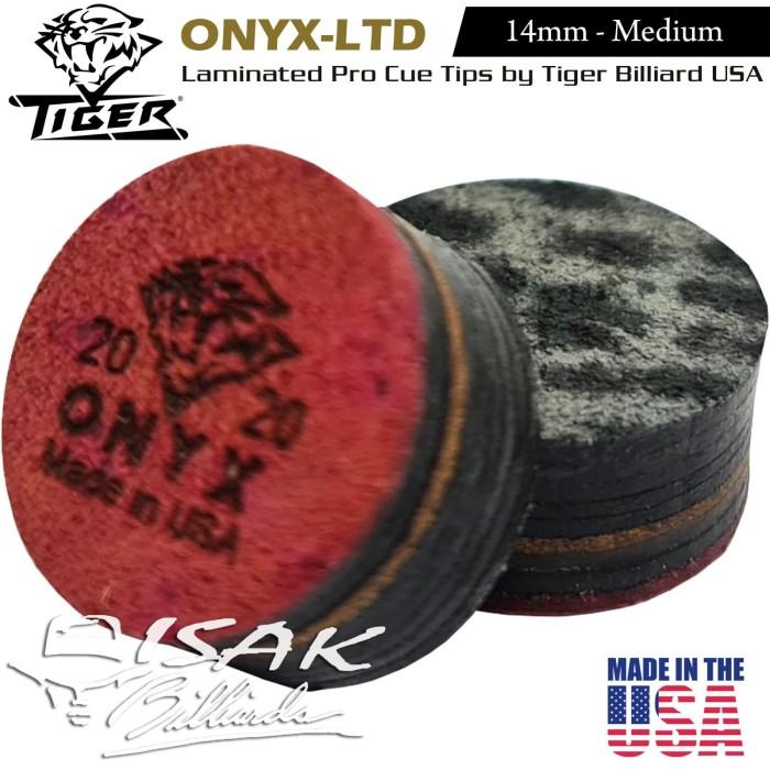 Foto Produk Onyx Ltd Cue Tip by Tiger USA - 14mm Layer Kepala Stick Billiard Pool dari ISAK Billiard Sport Co.
