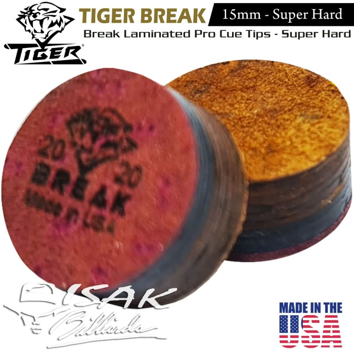 Foto Produk Tiger USA Break Cue Tip - 15mm Super Hard Kulit Lapis Stick Billiard dari ISAK Billiard Sport Co.