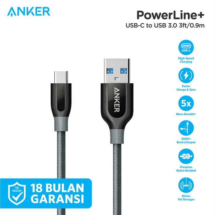 Foto Produk Kabel Charger Anker PowerLine+ 3ft/0.9m USB-C to USB-A 3.0 Gray- A8168 - Abu-abu dari Anker Indonesia