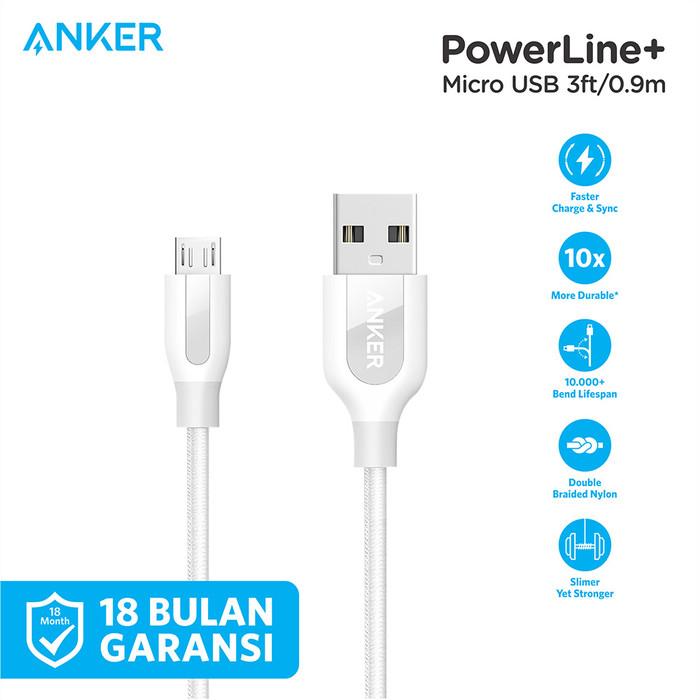 Foto Produk Kabel Charger Anker PowerLine+ Micro USB 3ft/0.9m Red - A8142 - Putih dari Anker Indonesia