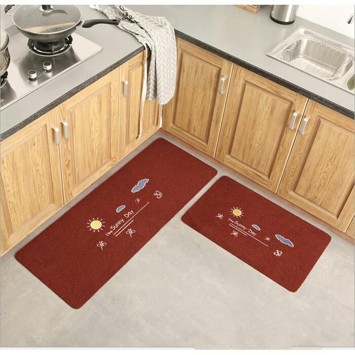 Foto Produk Door Mat Trendy SET Keset Rumah Kaki Dapur Pintu Kamar Anti Selip - SunnyDayMaroon dari Le Carre
