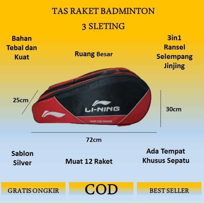 Foto Produk Tas Raket Badminton Lining 3 Resleting - Merahh dari cikal bag