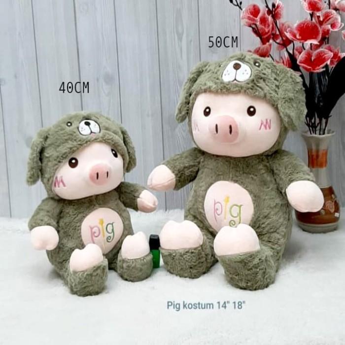 Foto Produk Boneka soft PIG Import 40cm Pig kostum cat bear babi kado souvenir dari unyu-unyu boneka