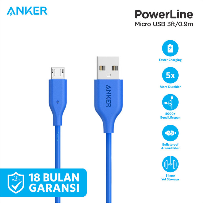 Foto Produk Kabel Charger Anker PowerLine Micro 3ft/0.9m Red - A8132 - Biru dari Anker Indonesia